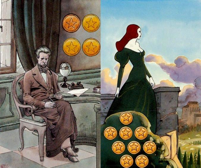 Secret tarot four and nine coins